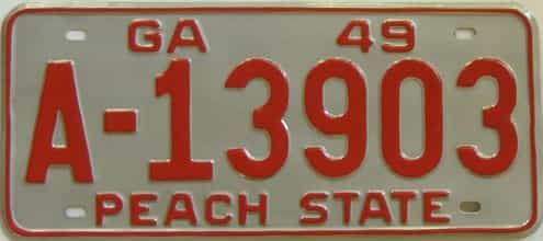 YOM RESTORED 1949 Georgia license plate for sale
