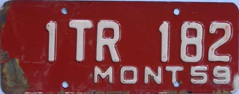 1959 MT (Trailer) license plate for sale