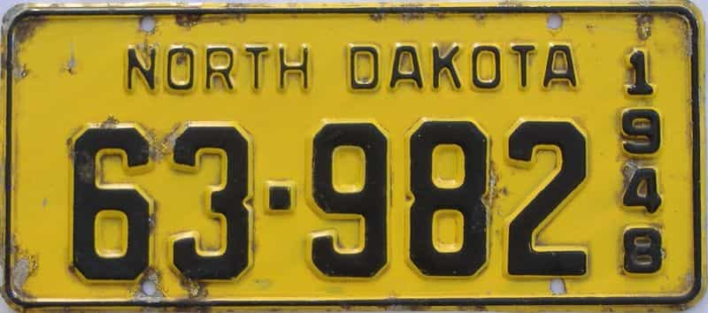 1948 North Dakota (Touched Up) license plate for sale