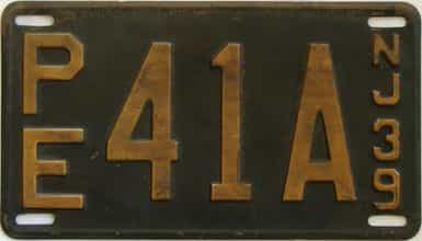 1939 New Jersey (Single) license plate for sale