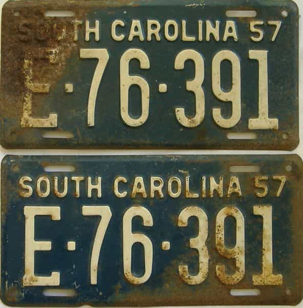 1957 South Carolina (Pair) license plate for sale