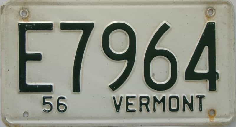 1956 VT (Single) license plate for sale