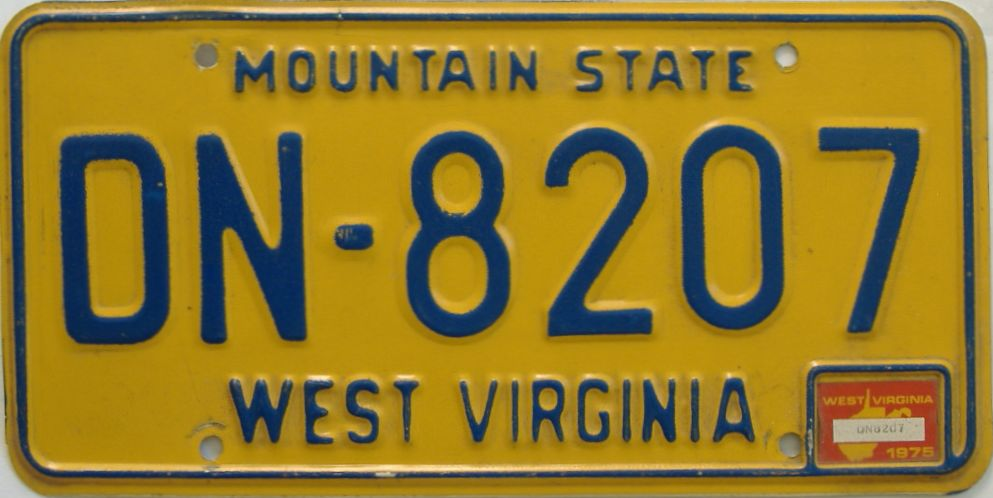 1976 West Virginia license plate for sale