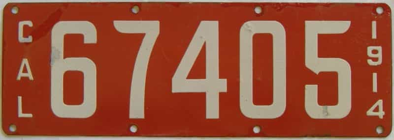 1914 California (Minor Touch-up) license plate for sale