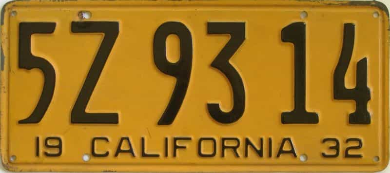 1932 California (Single) license plate for sale