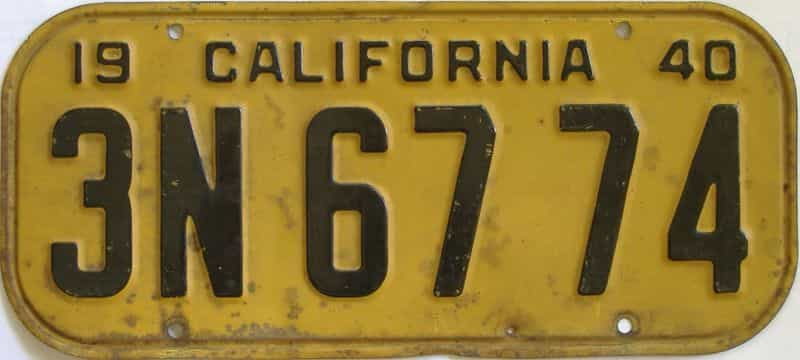 1940 California (Single) license plate for sale