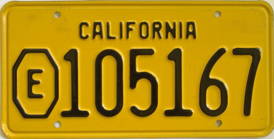 1956 California (Single) license plate for sale