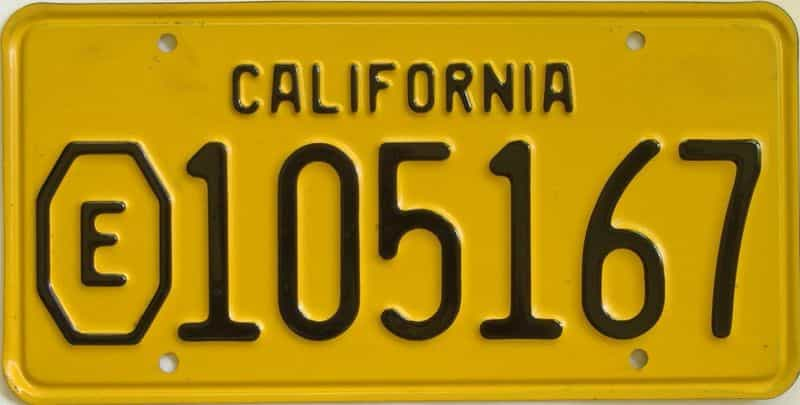 1956 California (Single) license plate for sale