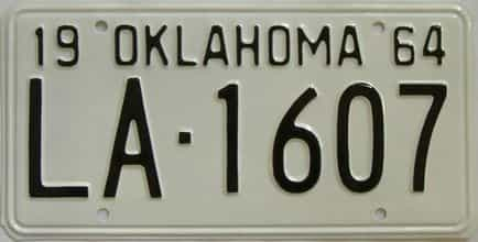 RESTORED 1964 Oklahoma license plate for sale