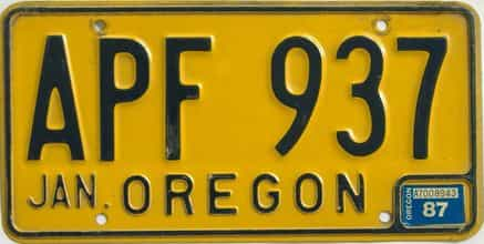 1987 Oregon (Natural Single) license plate for sale
