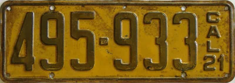 1921 California (Single) license plate for sale