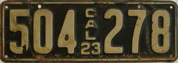 1923 California (Single) license plate for sale