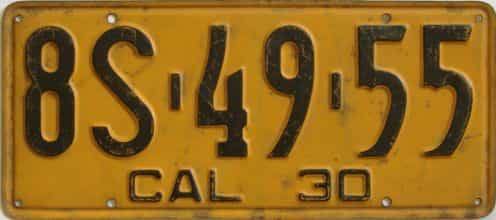 1930 California (Single) license plate for sale
