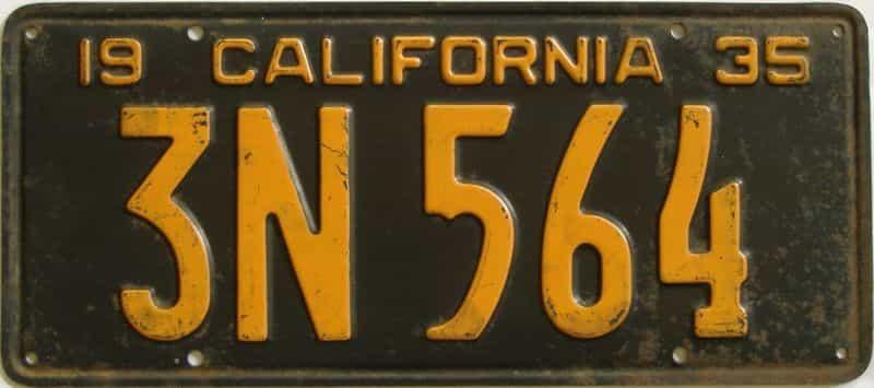 1935 CA (Single) license plate for sale