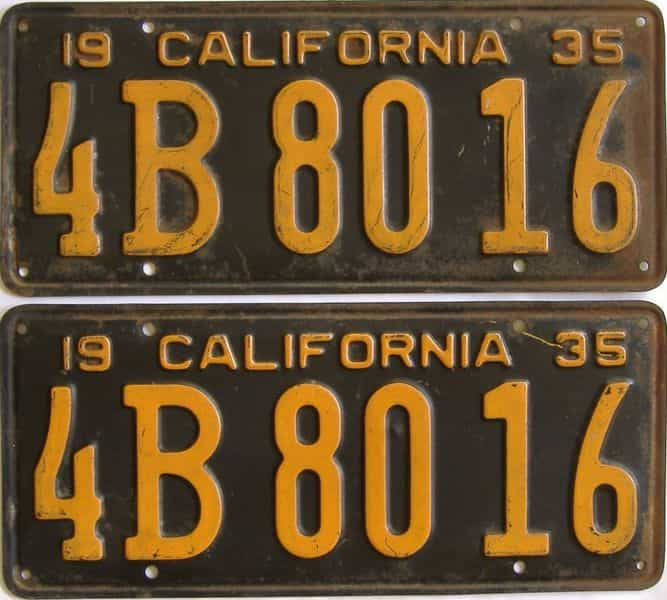 YOM 1935 CA (Pair) license plate for sale