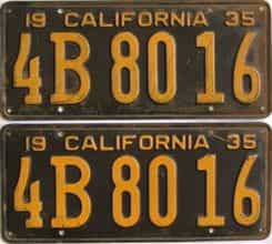 YOM 1935 California (Pair) license plate for sale