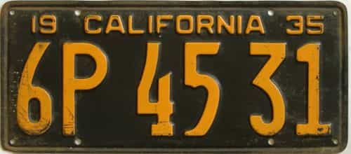 1935 California (Single) license plate for sale