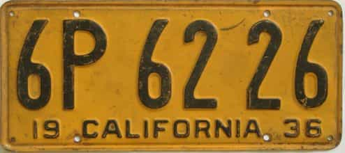 1936 California (Single) license plate for sale