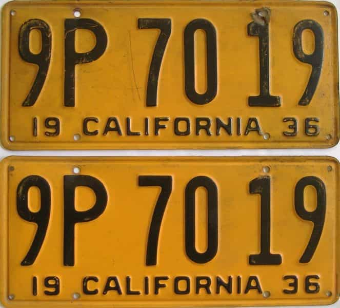 YOM 1936 California (Pair) license plate for sale