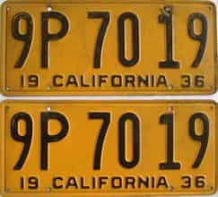 1936 California  (Pair) license plate for sale