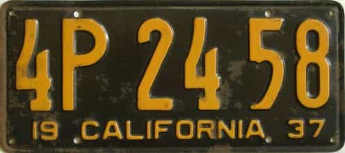 1937 California  (Single) license plate for sale