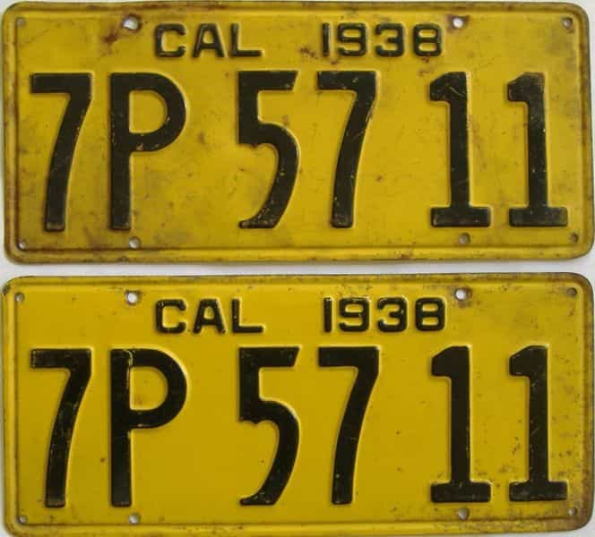 1938 California  (Pair) license plate for sale