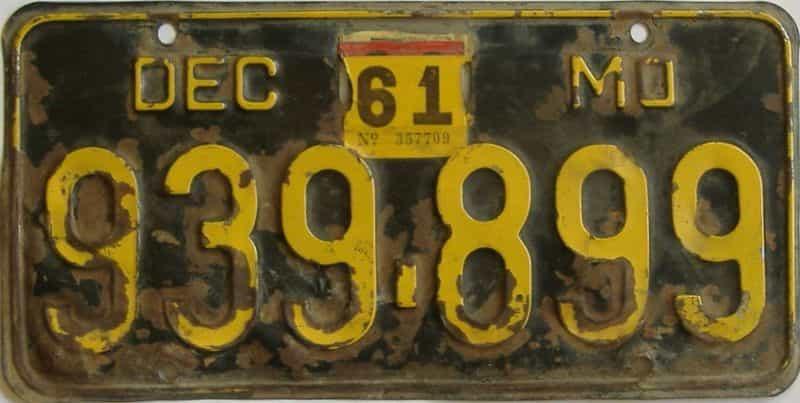 1961 Missouri license plate for sale