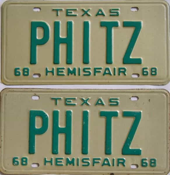 1968 TX (Vanity) license plate for sale
