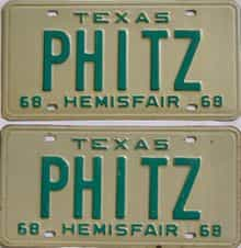 1968 Texas (Vanity) license plate for sale