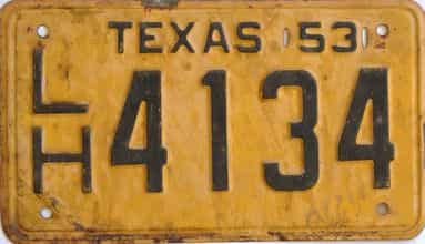 1953 Texas (Single) license plate for sale