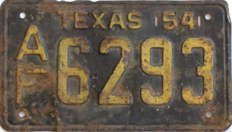 1954 TX (Single) license plate for sale