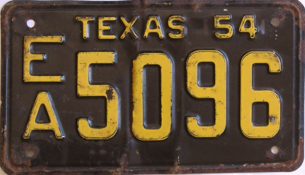 1954 Texas license plate for sale