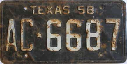 1958 Texas (Single) license plate for sale