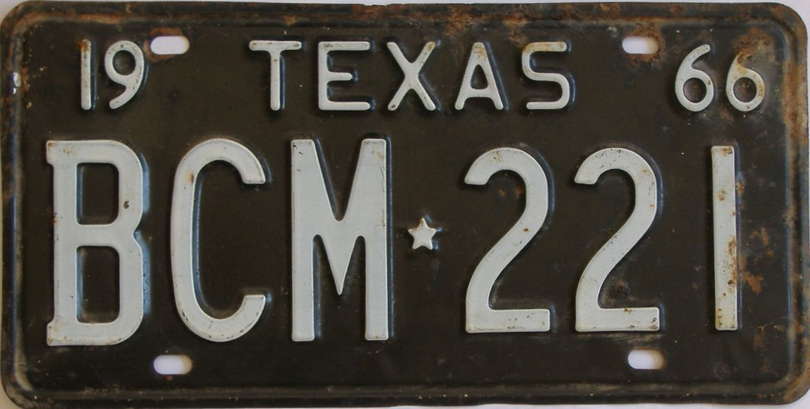 1966 Texas (Single) license plate for sale