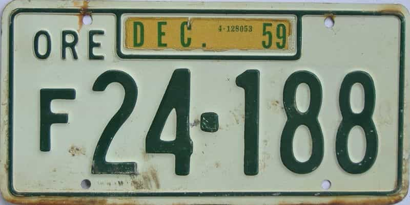 1959 Oregon license plate for sale