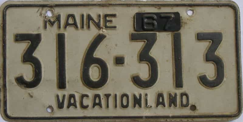 1967 Maine  (Single) license plate for sale
