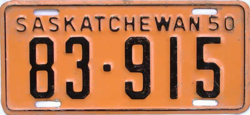 1950 Saskatchewan license plate for sale