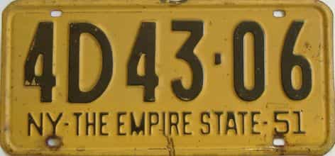1951 New York (Single) license plate for sale