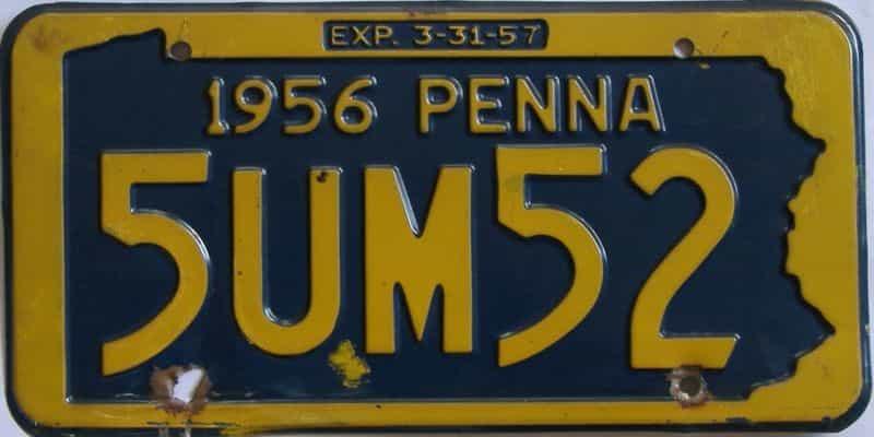 1956 Pennsylvania license plate for sale
