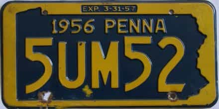 1956 Pennsylvania license plate for sale