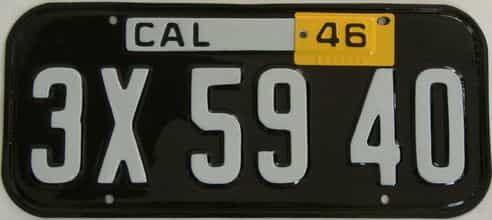 RESTORED 1946 California license plate for sale