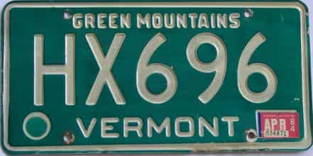 1984 Vermont (Single) license plate for sale