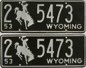 1953 Wyoming (Pair) license plate for sale