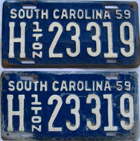1959 South Carolina (Truck) license plate for sale