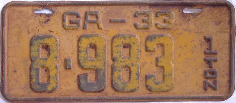 YOM 1933 GA (Truck) license plate for sale