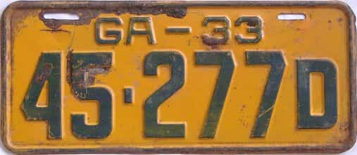 YOM 1933 Georgia (Single) license plate for sale