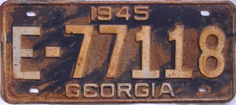 YOM 1945 GA license plate for sale