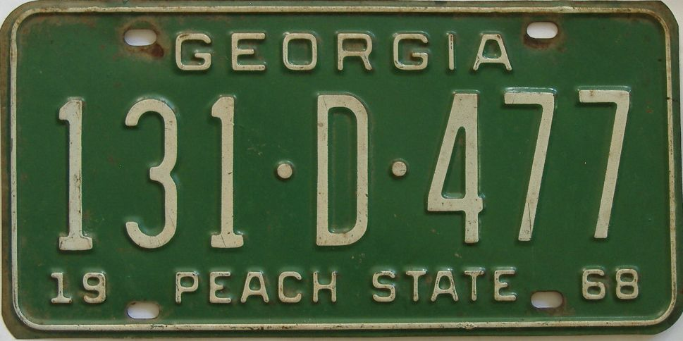 YOM 1968 Georgia license plate for sale