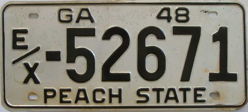 YOM 1948 GA (Touched Up) license plate for sale