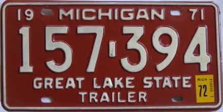 1972 Michigan (Trailer) license plate for sale